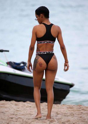 Teyana Taylot in Black Bikini on Miami Beach Pic 2 of 35