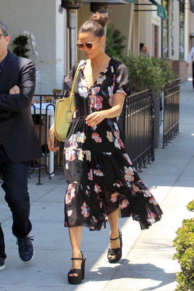 Thandie Newton at Cafe Gratitude in Beverly Hills