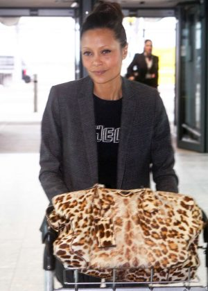 Thandie Newton at Heathrow Airport in London