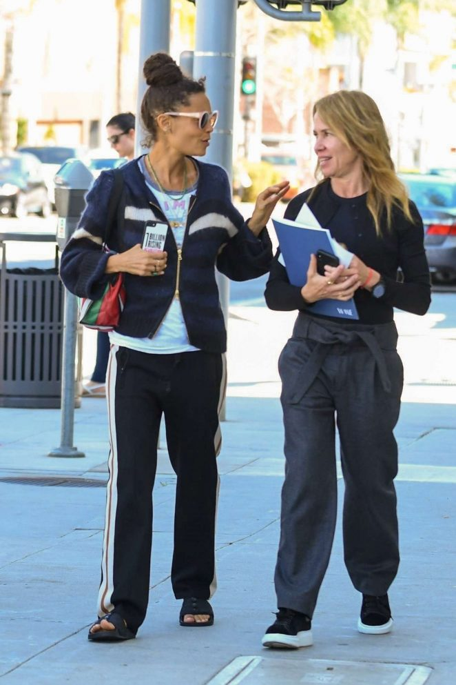 Thandie Newton with a friend at Gratitude in Beverly Hills
