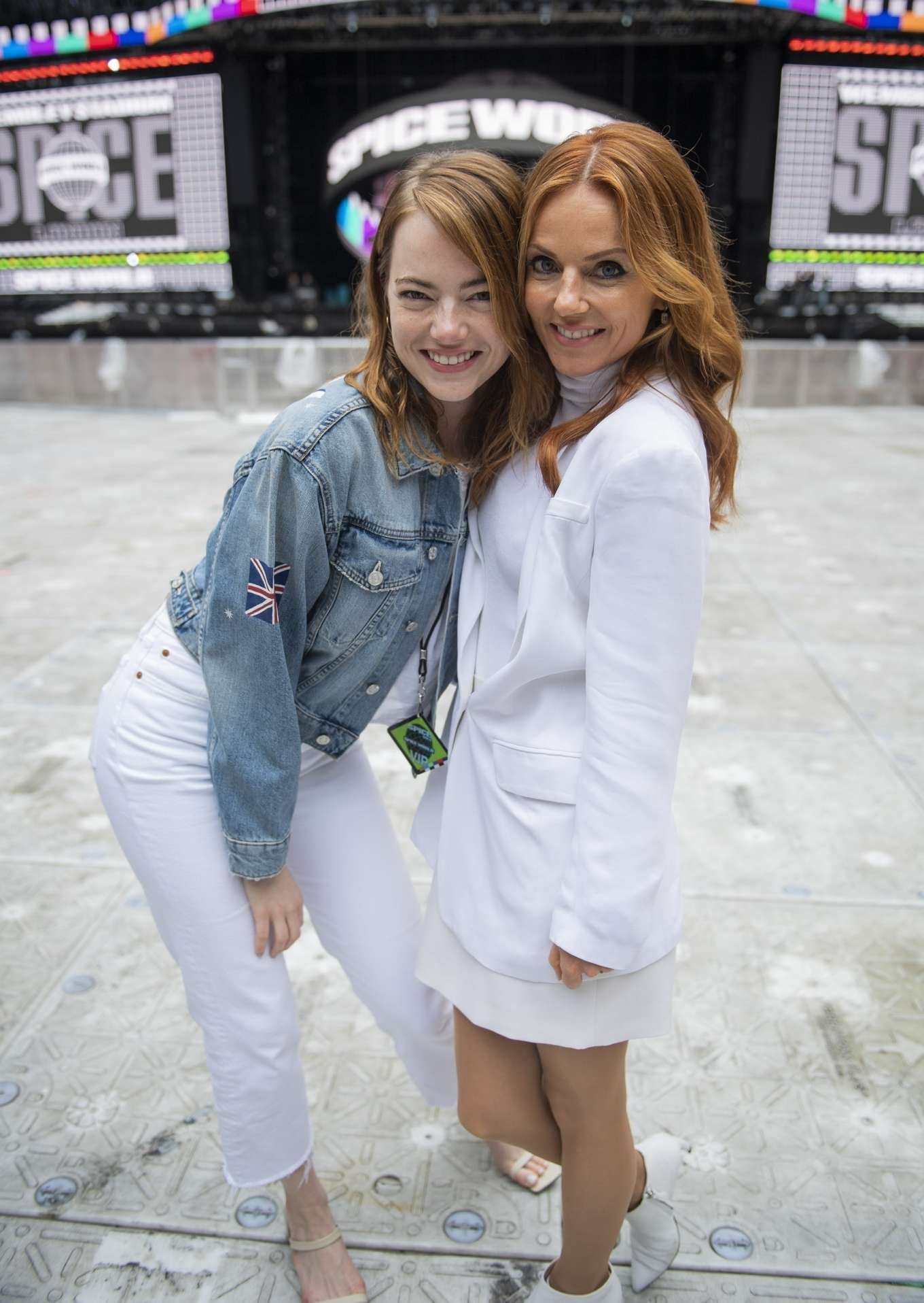 The Spice Girls - Meets girl band HAIM and Emma Stone at Wembley Stadium in London