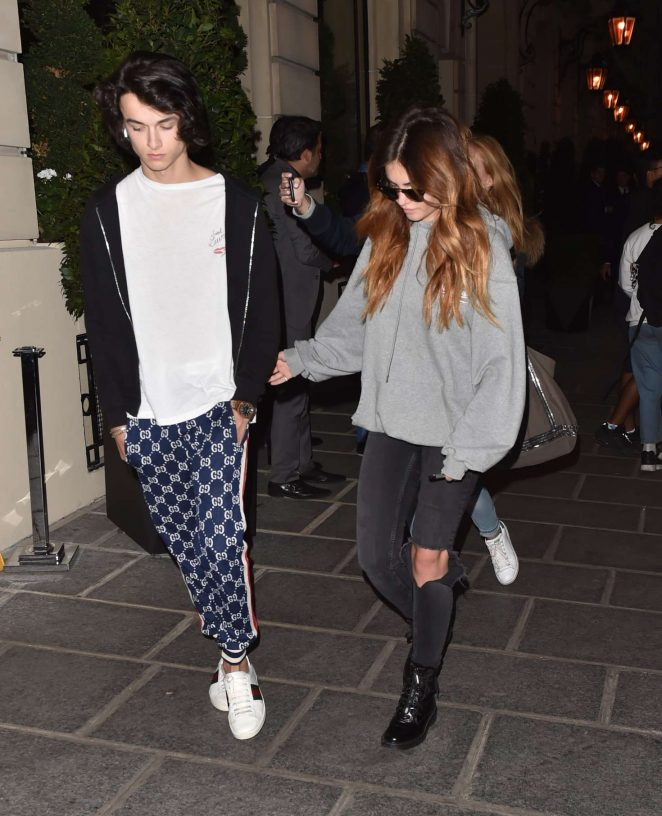 Thyane Blondau with boyfriend Raphael Le Friant out in Paris