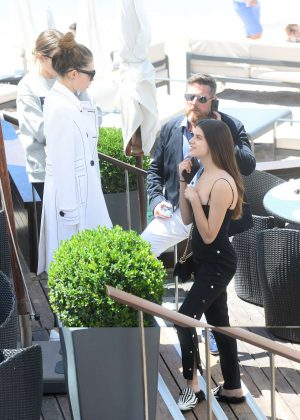 Thylane Blondeau and Sonia Ben Ammar at Martinez Beach in Cannes