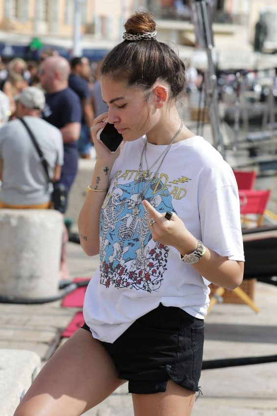 Thylane Blondeau in Black Shorts - Out and about in Saint Tropez