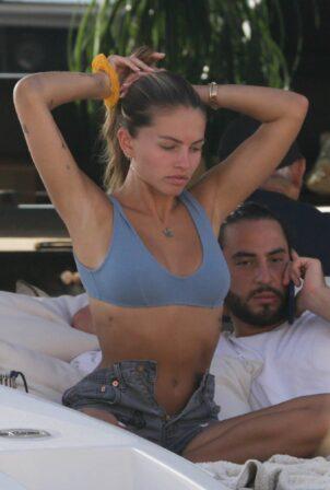 Thylane Blondeau - Spotted on a luxury yacht in Saint Tropez