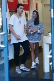 Thylane Blondeau with her boyfriend at T-Mobile in West Hollywood