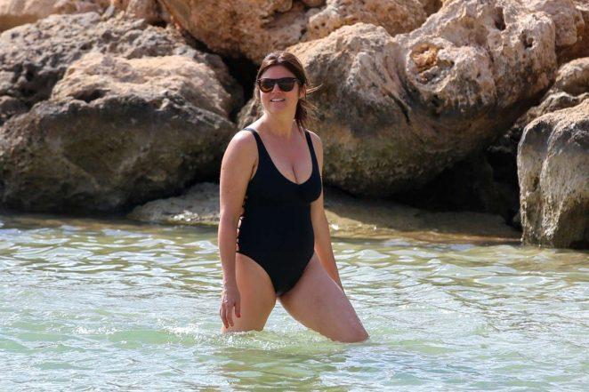 Tiffani Amber Thiessen in Black Swimsuit 2016 -03
