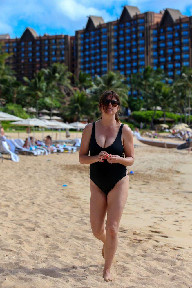 Tiffani Amber Thiessen in Black Swimsuit 2016 -07