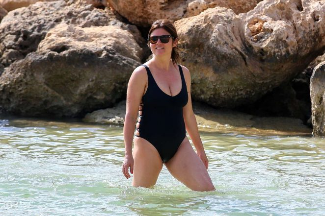 Tiffani Amber Thiessen in Black Swimsuit 2016 -13