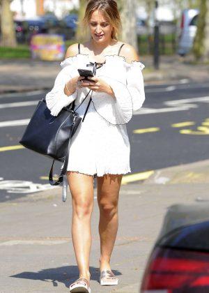 Tiffany Watson in Mini Dress out in London