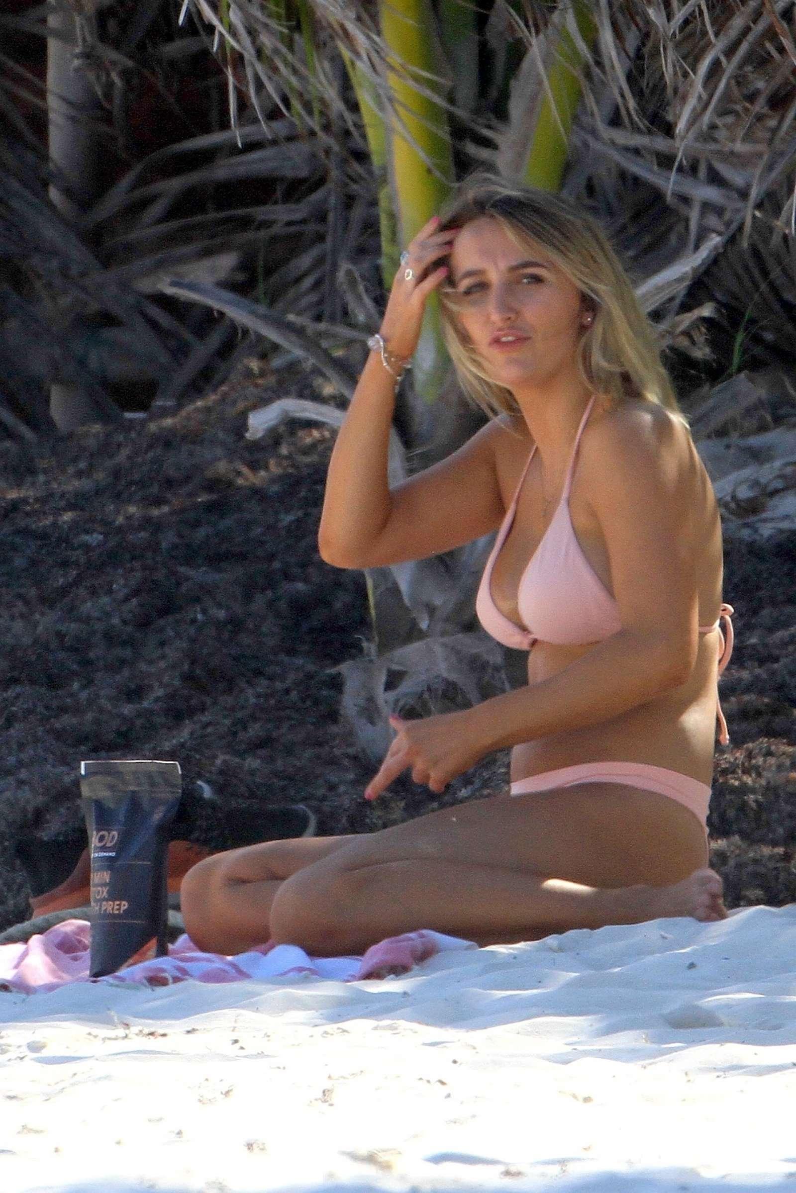 tiffany watson in pink bikini on the beach in tulum