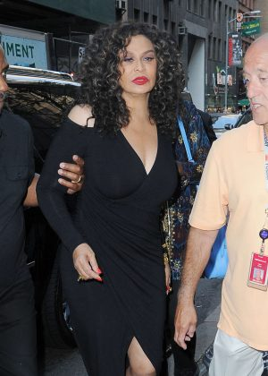 Tina Knowles in black Dress at The Today Show in NY