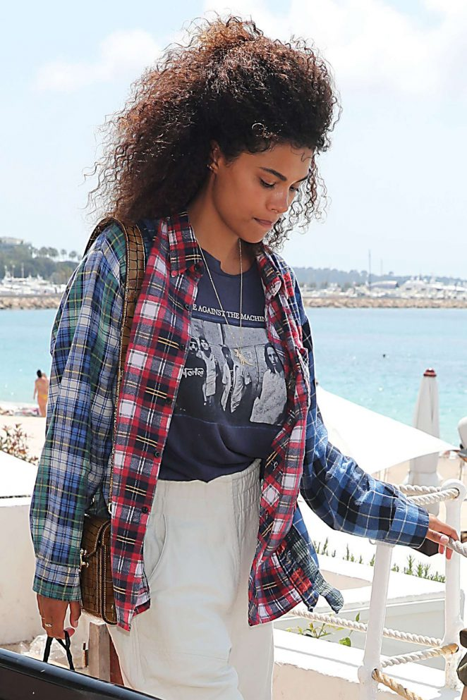 Tina Kunakey - Arriving at Martinez Beach in Cannes