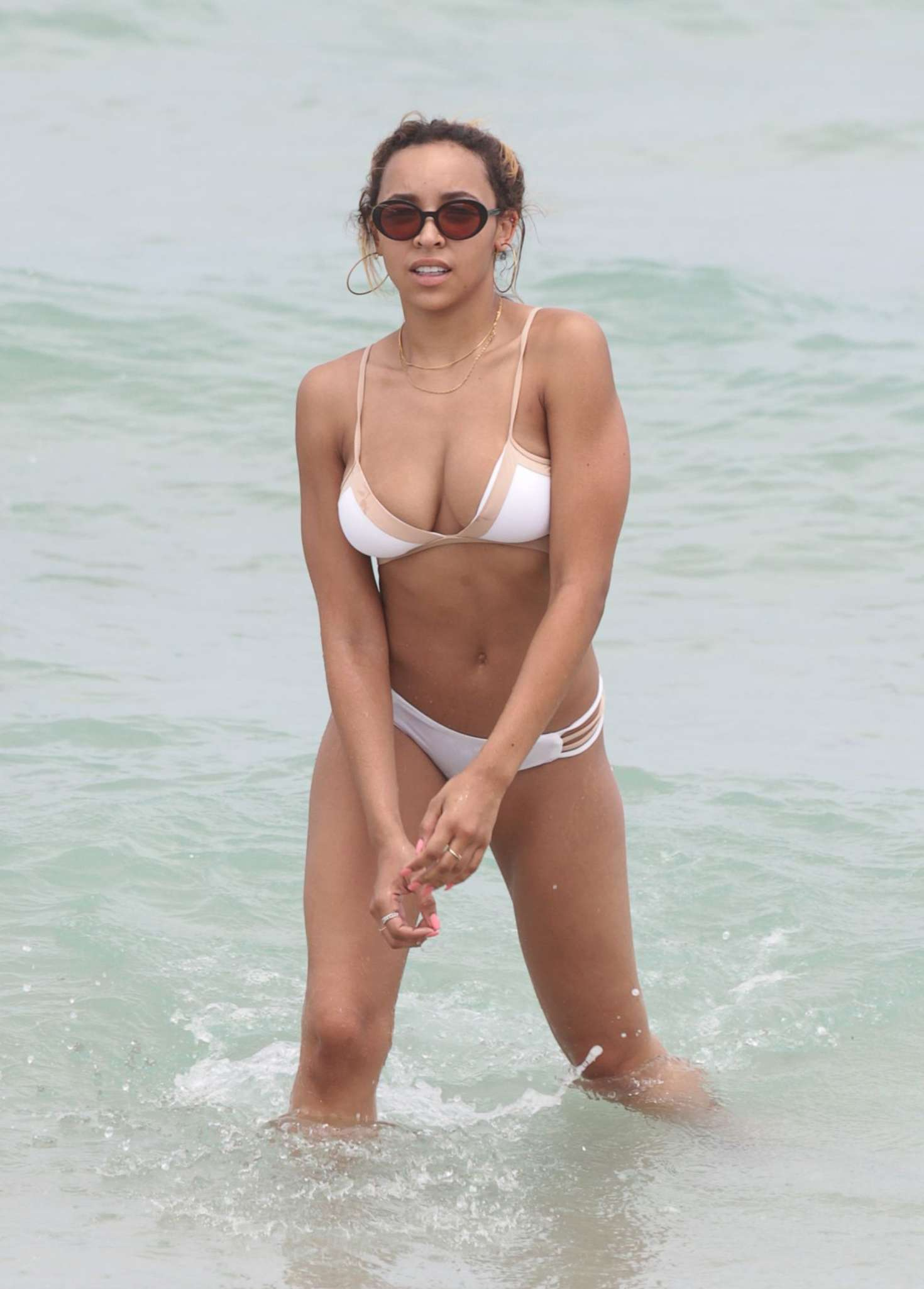 Tinashe Miami in White Bikini on Miami Beach