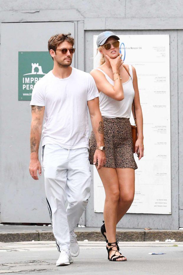 Toni Garrn and boyfriend Alex Pettyfer - Out in Milan