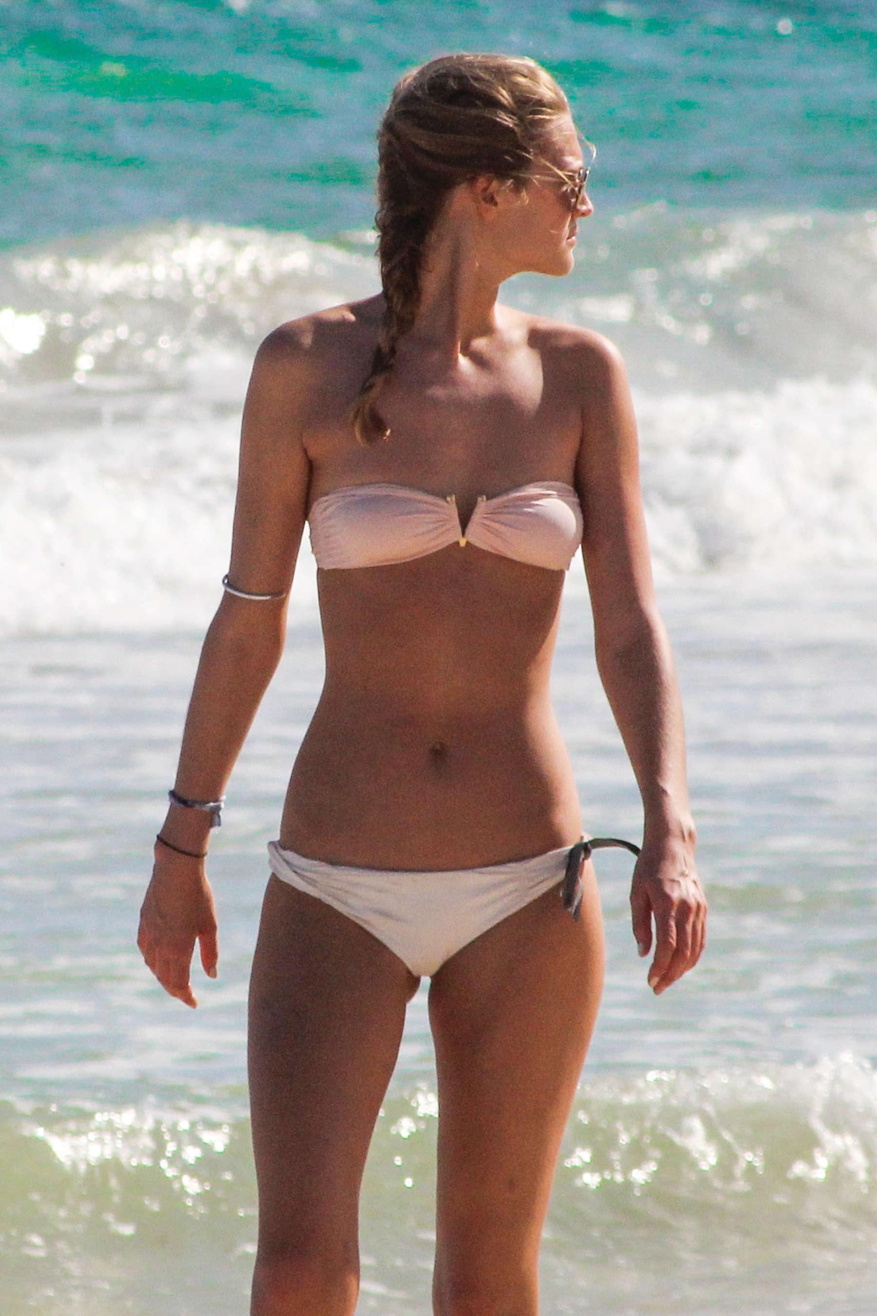 Toni Garrn in Bikini on the beach in Cancun