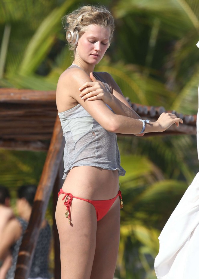 Toni Garrn in Red Bikini Bottoms in Miami