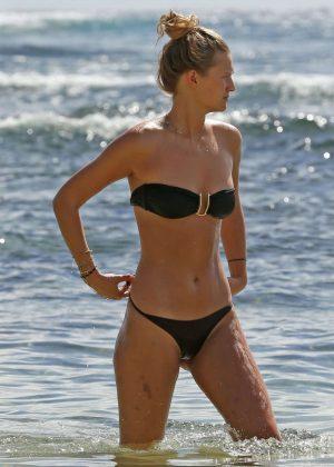 Toni Garrn in Black Bikini on the beach in Hawaii