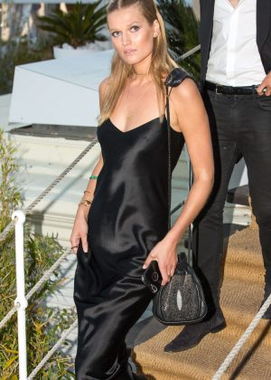 Toni Garrn in Black Dress on the Croisette in Cannes