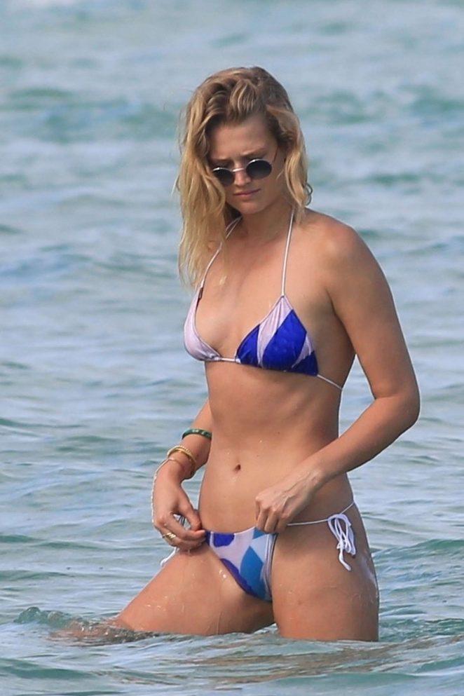 Toni Garrn in Blue and White Bikini on the beach in Miami