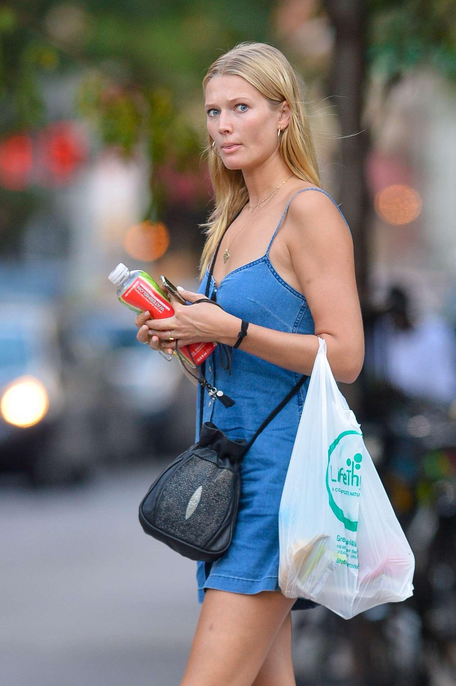 New York Prime >> Toni Garrn in Blue Mini Dress – Out in New York City ...