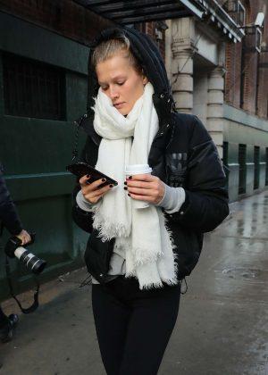 Toni Garrn in Leggings out in New York City