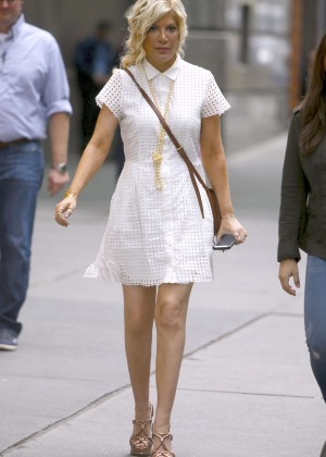 Tori Spelling in White Mini Dress out in New York