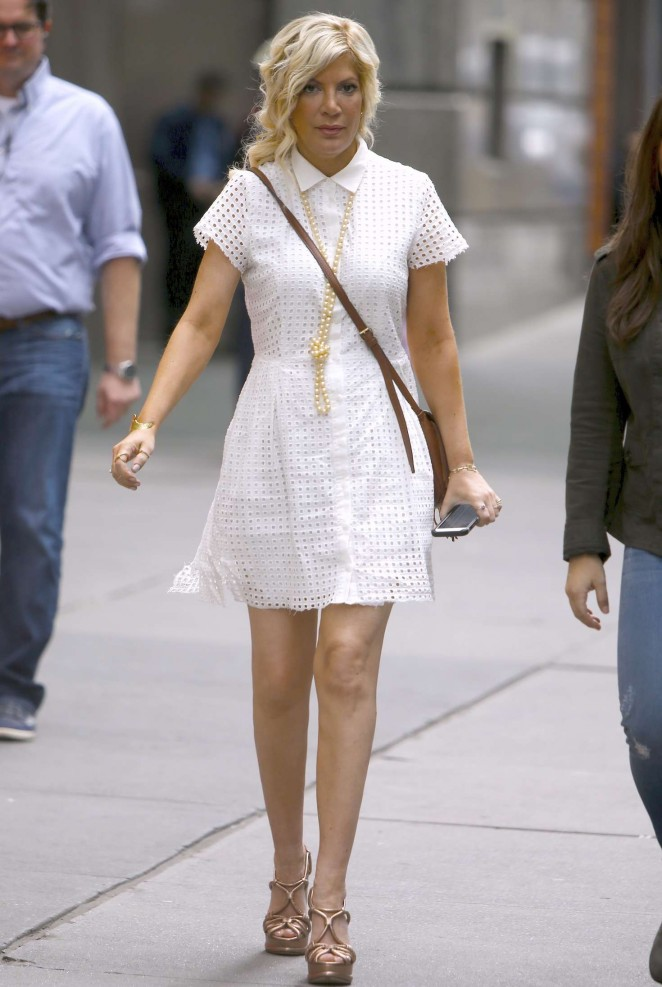 Tori Spelling in White Mini Dress out and about in New York