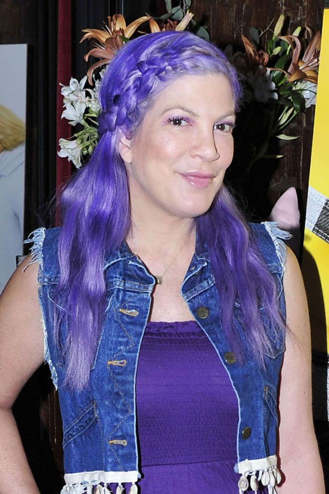 Tori Spelling With Purple Hair out in Los Angeles