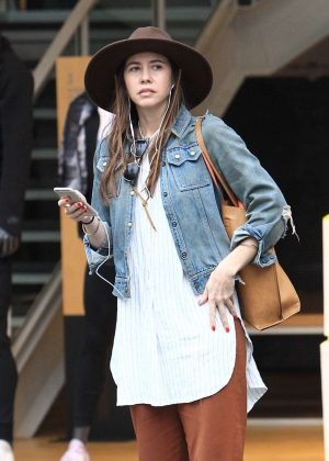 Troian Bellisario at Christmas shopping in Los Angeles
