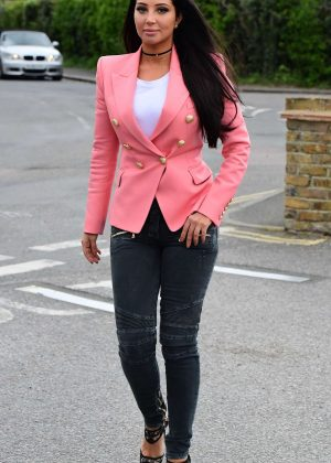 Tulisa Contostavlos arriving at a local pub in London