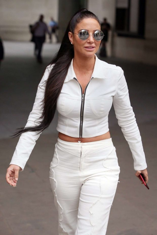 Tulisa Contostavlos at BBC Radio One studios to promote her new single 'Daddy' in London