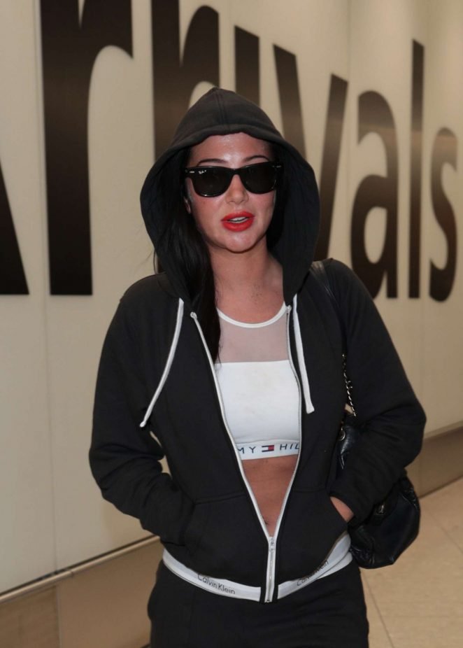 Tulisa Contostavlos at Heathrow Airport in London