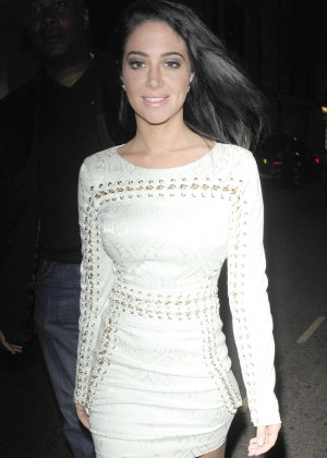 Tulisa Contostavlos in Tight Mini Dress at Mahiki Night Club in London