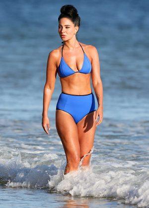 Tulisa Contostavlos in Blue Bikini in Portugal