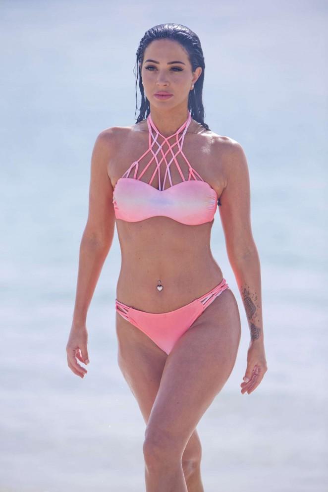 Tulisa Contostavlos in Pink Bikini in Dubai