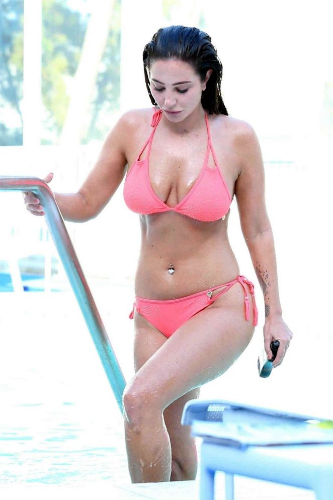Tulisa Contostavlos in Pink Bikini on the pool in Los Angeles