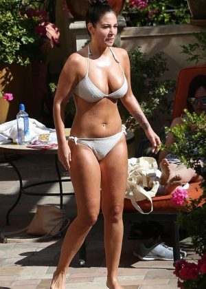Tulisa Contostavlos in White Bikini on the pool in Los Angeles