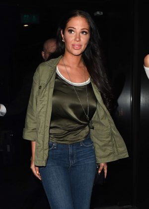 Tulisa Contostavlos Leaves STK restaurant in London