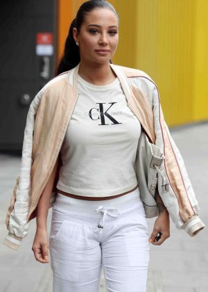 Tulisa Contostavlos Leaving the MTV Studios in Camden