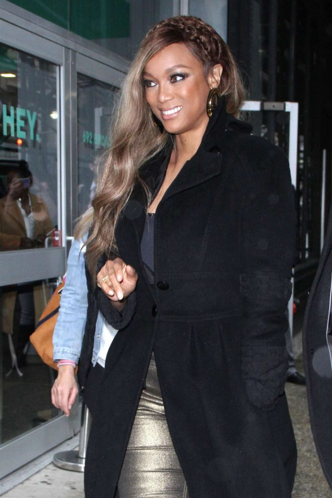 Tyra Banks - Arrives at AOL Build Studios in New York City
