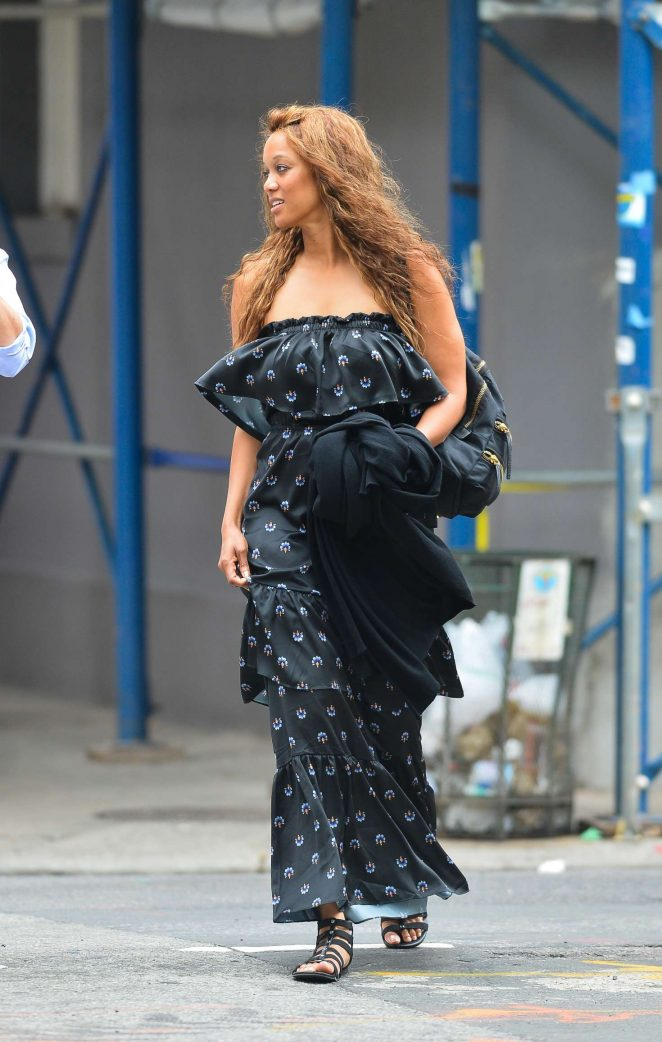 Tyra Banks in Long Dress out in New York City