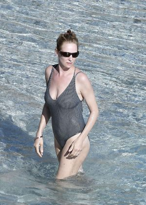 Uma Thurman in Swimsuit at the beach in St Barts