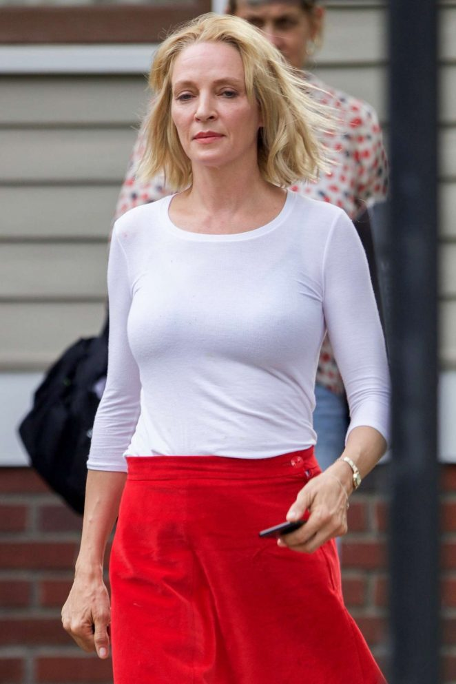Uma Thurman on the set of 'The War with Grandpa' in Atlanta