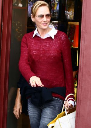 Uma Thurman out for shopping in Karlovy Vary