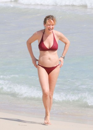 Uma Thurman in Red Bikini in St Barts
