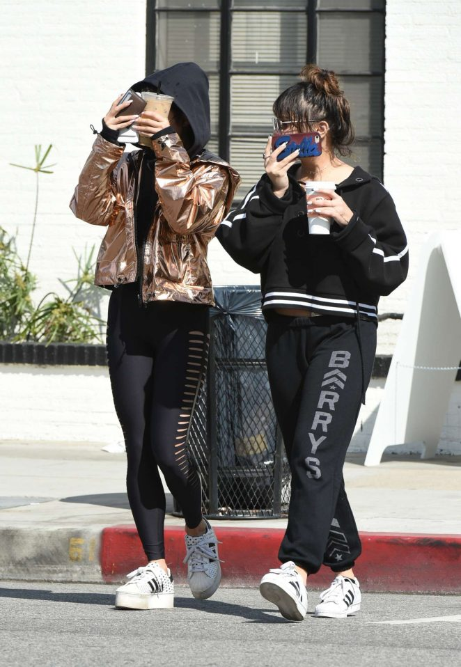 Vanessa and Stella Hudgens - Get coffee after their workout in LA
