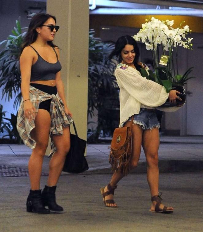 Vanessa and Stella Hudgens - Leaving a hospital in LA