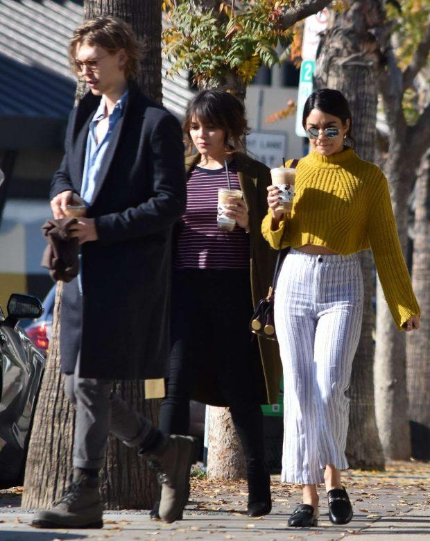 Vanessa and Stella Hudgens with Austin Butler - Gabbing coffee in Studio City