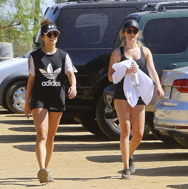 Vanessa Hudgens and Ashley Tisdale in short shorts hike together in LA